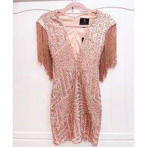 Rose gold fringe sequins New Years mini dress